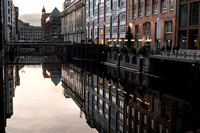 Canal in Hamburg centre at dusk